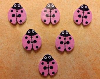 SET of 6 wood buttons: Ladybug pink 18mm