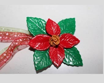 Round, red and gold poinsettia, Christmas flower