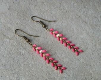 Earrings chains enamel ears fuchsia 1