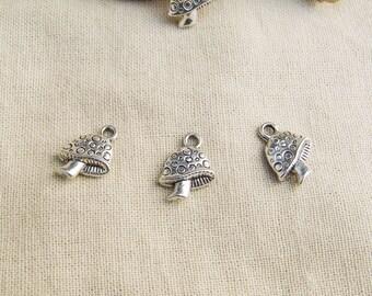 5 charms mushroom 16 x 13 mm silver A22219