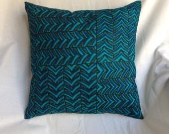 Square 30x30cm geometric green, blue and black cotton Cushion cover