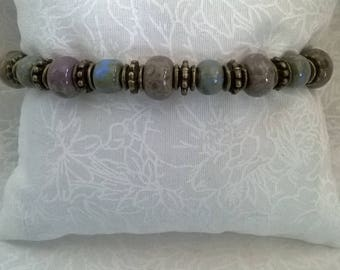 Bracelet ethnic bronze metal beads and seed beads picasso old