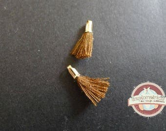 2 tassels and golden brown 12mm fabric charms
