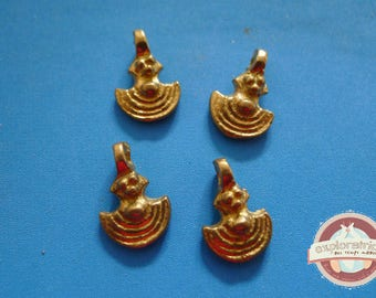 4 charms Golden ethnic 10x15mm