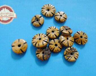 Carved bone Rondelle beads 12 ochre Black Brown 3x15Mm