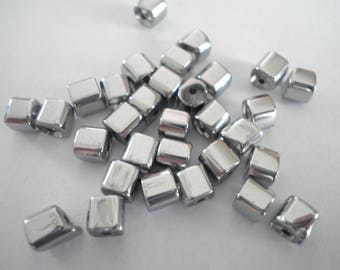 10 cubes are faceted Crystal Silver 5 mm