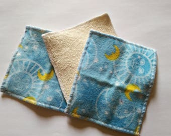 10 wipes washable baby cleansing or... organic cotton and flannel fancy