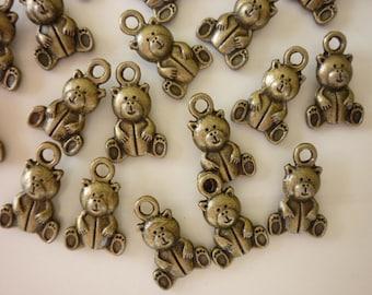Set of 5 charms bronze bear
