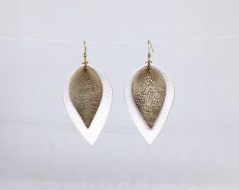 Leather teardrop earrings lightweight earrings metallic leather earrings white and gold leather earrings