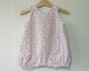 Romper / playsuit baby pink and white floral cotton