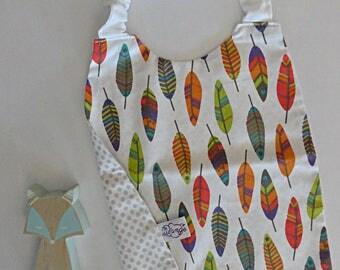 Elastic towel kindergarten Indian feathers / leaves in STOCK
