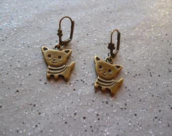 Dog, sleeper metal bronze earrings