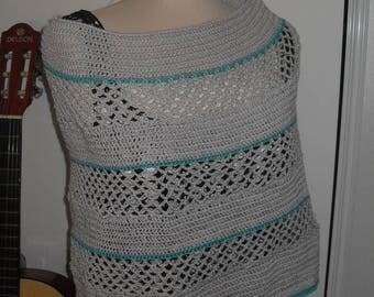 grey poncho women crochet handmade