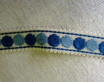 274) Royal Blue, light blue embroidered lace Ribbon