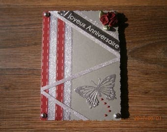 """""""Happy birthday"""" card, red and silver"""
