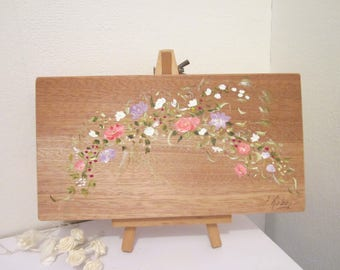 Garland of pink and purple flowers handpainted on wood