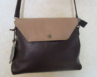 bag in dark brown leather flap leather exclusive 3 in1