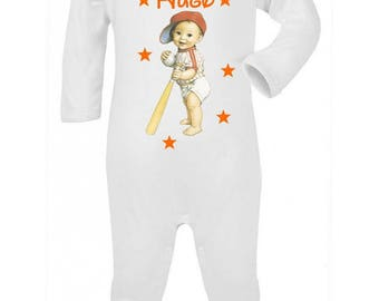 Pajamas baby Baseball personalized with name