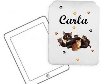 Cover for tablet pc cat and kittens personalized with name