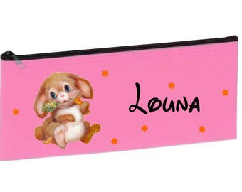 Personalized with name pink Bunny School Kit