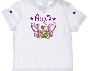 tee shirt baby kitten Butterfly personalized with name