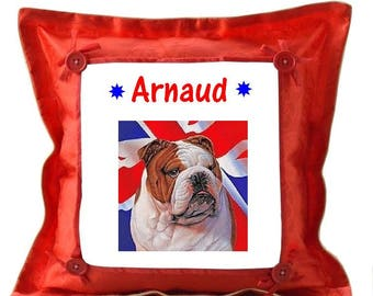 Red Dog English bouldog pillow personalized with name