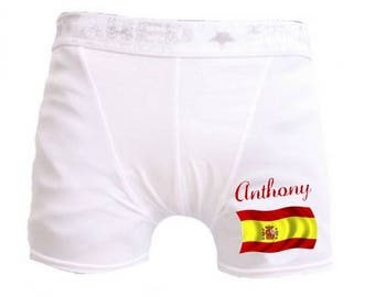 Spain white men shorts personalized with name