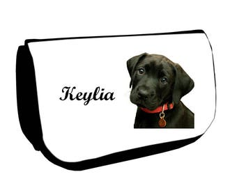 Black Labrador /crayons make-up case personalized with name