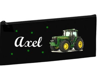Kit school black tractor personalized with name