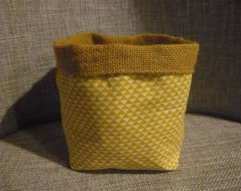 basket graphic yellow and taupe