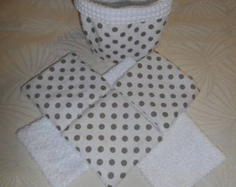 all wipes washable bamboo and white honeycomb - white polka-dot taupe - pot