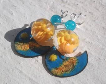 Earrings: Sea - blue sky and Sun