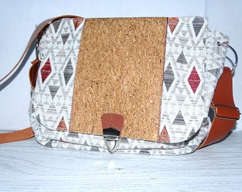 Ethnic shoulder bag satchel and Cork
