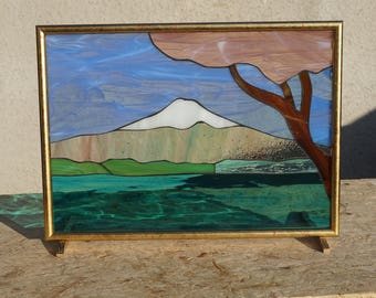 Spring on Fuji, stained glass drawing Glasmalerei drawing