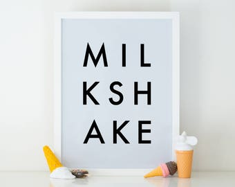 Milkshake Digital Print, Digital Download, Printable Art, Wall Art, Word Art, Instant Download, Kitchen Decor, Modern Art, Minimalist