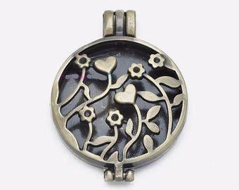 pretty photo Locket pendant bronze deco floral 30mm