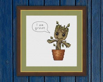I am groot!   Guardians of the Galaxy   Baby Groot - cross stitch pattern PDF