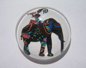 Cabochon 25 mm round domed with his image elephant and character making music on his back