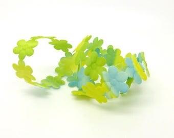 Ribbon trim, flower, green, yellow, blue, white