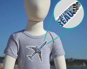 Personalised Aeroplane Name Kids & Baby  Birthday Gift T-shirt, One-piece, Romper, Bodysuit, Onesie, Custom Made Print