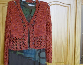 VERY CHIC ORANGE WOOL AND COTTON VEST