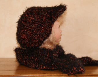 SCARF MULTICOLOR BROWN AND BLACK WOOL SOFT AND FURRY