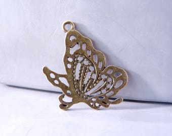 3 charms end openwork Butterfly 31 x 24 mm - color bronze