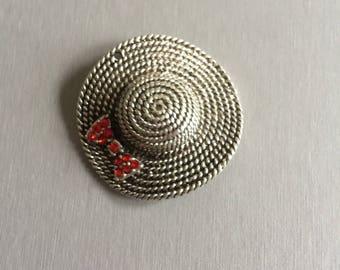 Silver Cap + red rhinestone bow