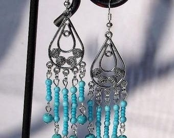 "Natural turquoise Ithaca beads and Tibetan alloy ""Waterfall blue"" earrings"