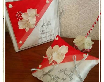 ring bearer pillow, guest book and pen red grey orchids and white