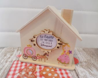 Piggy bank wooden house by babou 10/10/5.5cm jewelry