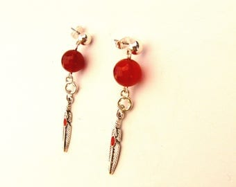 Chip Bead earring and feather hanging