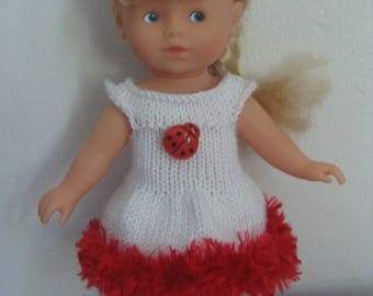 Clothing, white dress and ruffle mini Corolline doll 20 cm