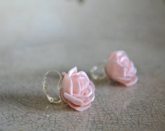 earrings with roses, wedding accessories
